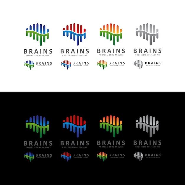 Brain shape sound wave-logo Premium Vector