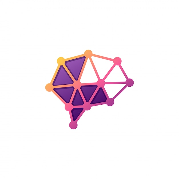 Brain tech-logo Premium Vector