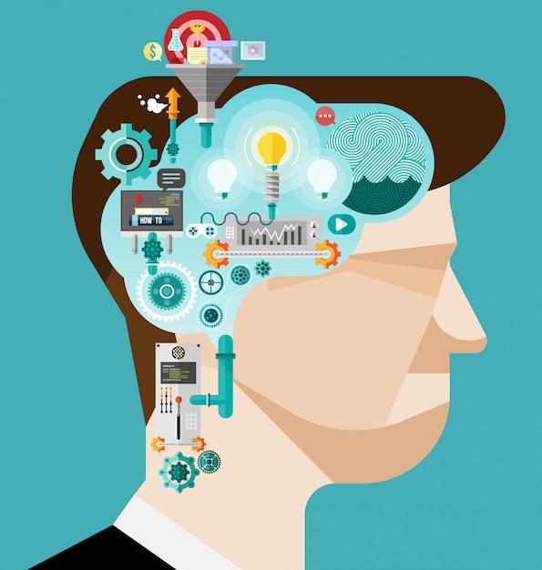 Brainstormen zakenman creëren idee Premium Vector