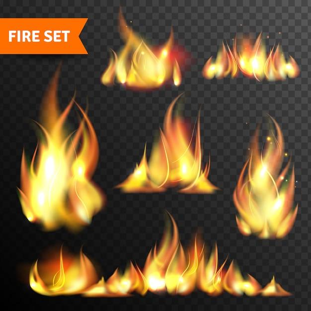 Brand gloeiende vlammen pictogrammen instellen Gratis Vector
