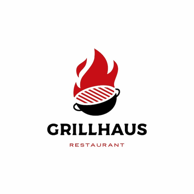 Brand grill logo pictogram illustratie Premium Vector