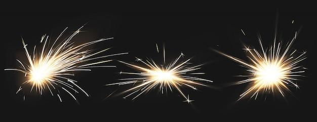 Brand vonken van metaallassen, vuurwerk Gratis Vector