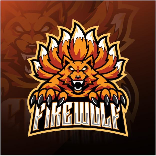 Brand wolf esport mascotte logo ontwerp Premium Vector