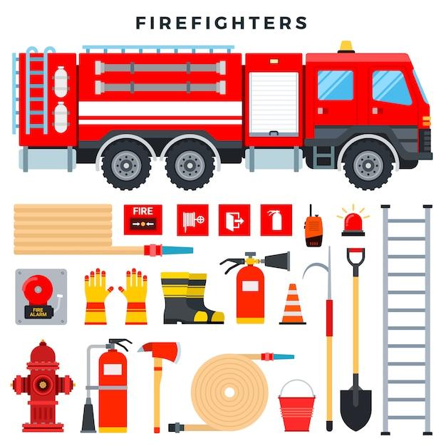 Brandbestrijdingsmateriaal en uitrusting, reeks. brandweerwagen, brandblusser, brandkraan, slang, ladder, radio, vuurtekens, enz Premium Vector