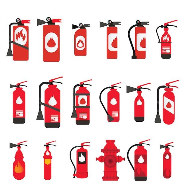 Brandblusser verschillende soorten en maten, brandveiligheidset verschillende soorten blustoestellen Premium Vector