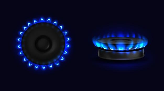 Brandend gasfornuis met blauwe vlam boven- en zijaanzicht Gratis Vector