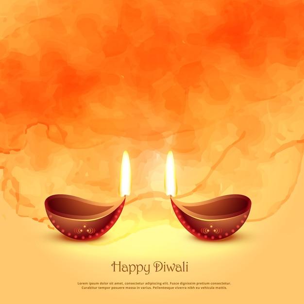 Brandende diya lampen voor diwali festival groet achtergrond Premium Vector