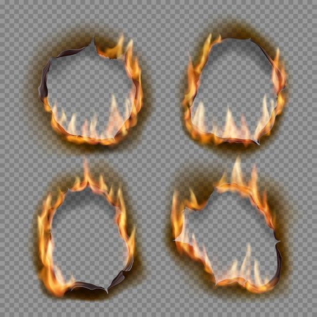 Brandende gaten, brand papiervuur met realistische verkoolde randenobjecten. vlam op blad. gebrande abstracte gaten in vuurvlammen, gescheurde randen en gescheurde frames op transparante achtergrond Premium Vector