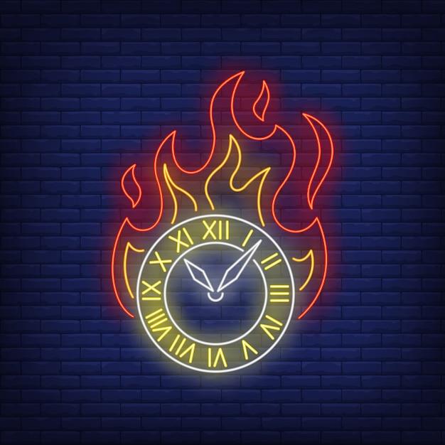 Brandende klok neon teken Gratis Vector