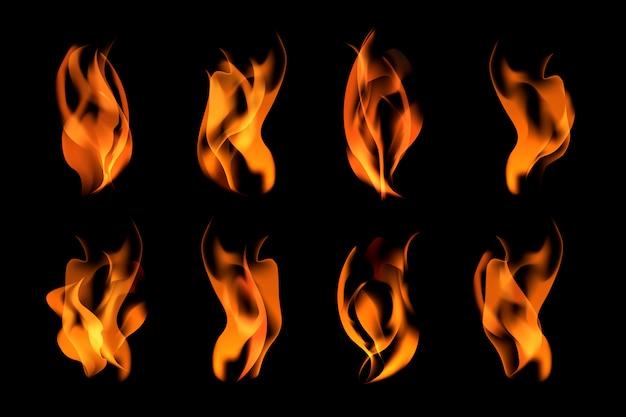 Brandende vlammen ingesteld Gratis Vector