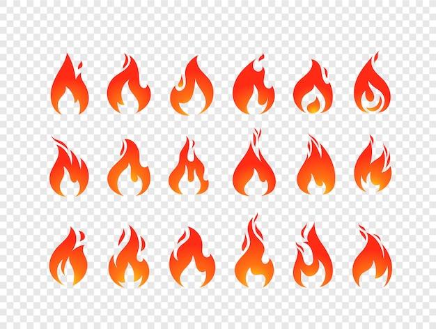 Brandende vlammen vector set geïsoleerd op transparante achtergrond Premium Vector