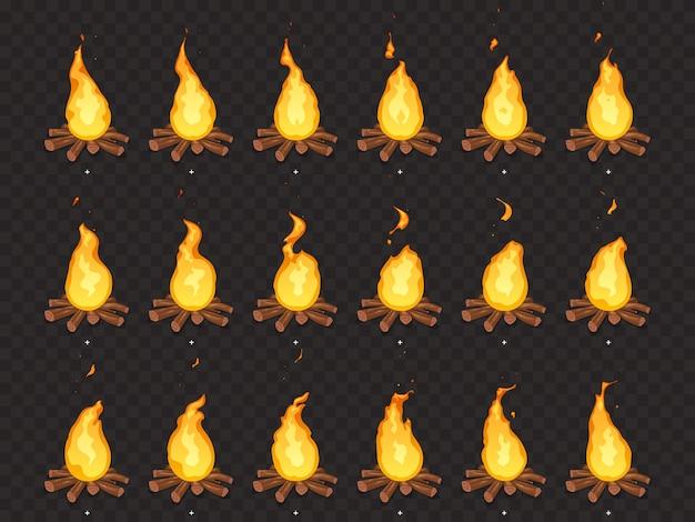 Brandende vreugdevuur animatie. heet vuur, buiten kampvuur en vreugdevuren cartoon geïsoleerde sprites frames Premium Vector