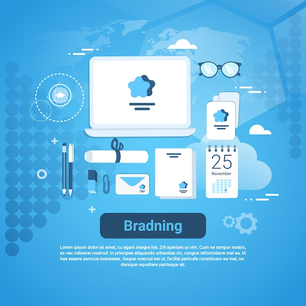 Branding idee marketing technologie concept webbanner met kopie ruimte Premium Vector