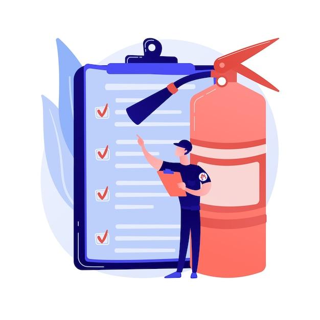 Brandinspectie abstract concept vectorillustratie. brandalarm en detectie, checklist gebouwinspectie, voldoen aan de eisen, veiligheidscertificering, jaarlijkse inspectie abstracte metafoor. Gratis Vector