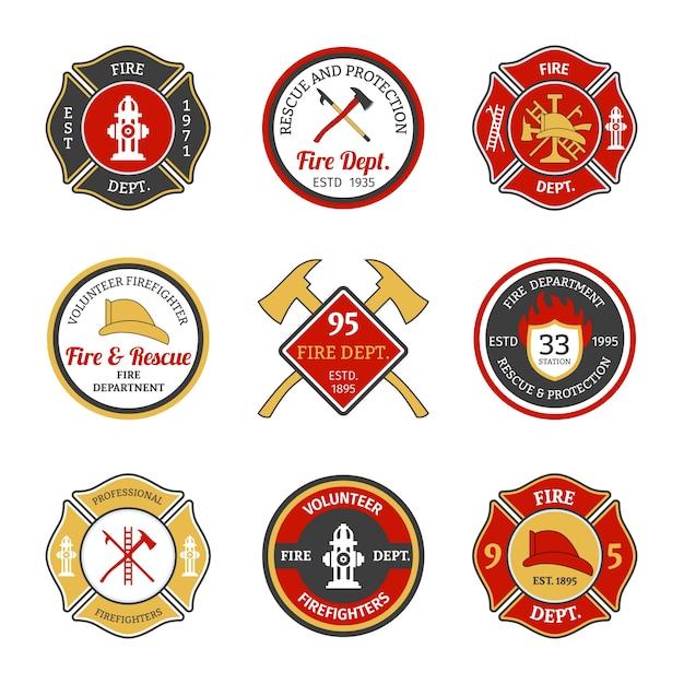 Brandweer emblemen Gratis Vector