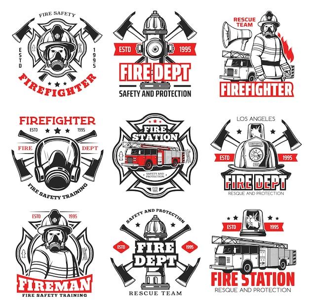 Brandweer- en brandweerafdelingspictogrammen, brandweermanhelm en bijl-insignes. emblemen van het reddingsteam van de brandweerman met waterkraan, veiligheidshoed en ladder voor brandweerwagens, noodsignalen voor brandbestrijding Premium Vector