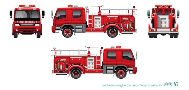 Brandweerauto 02 Premium Vector