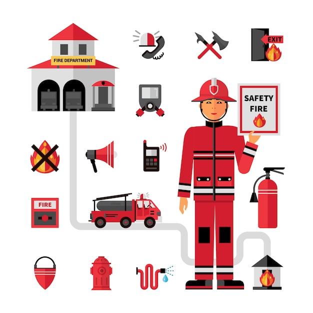 Brandweerkorps plat pictogrammen instellen Gratis Vector