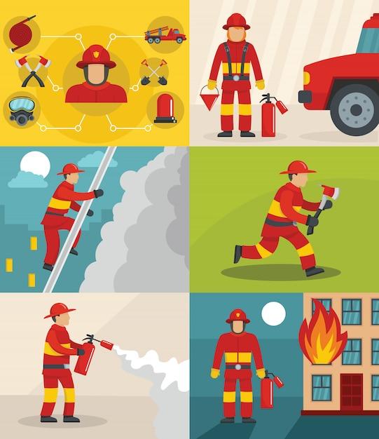 Brandweerman achtergrond Premium Vector