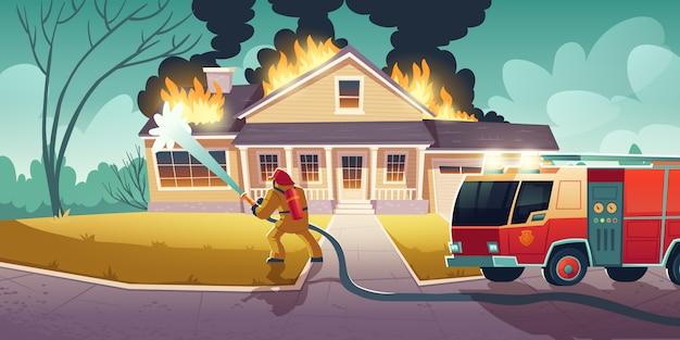 Brandweerman blussen brand op huis Gratis Vector