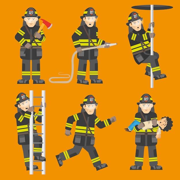 Brandweerman in actie 6 figuren instellen Gratis Vector