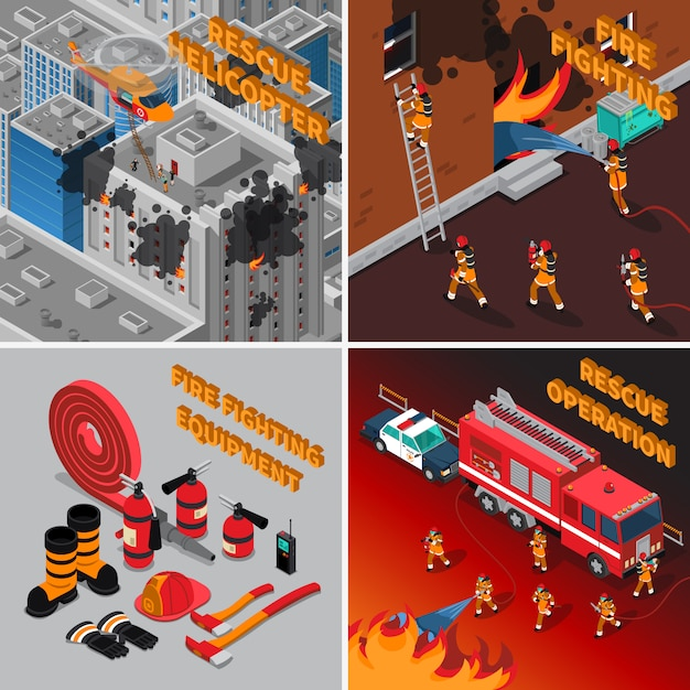 Brandweerman isometrisch concept Gratis Vector