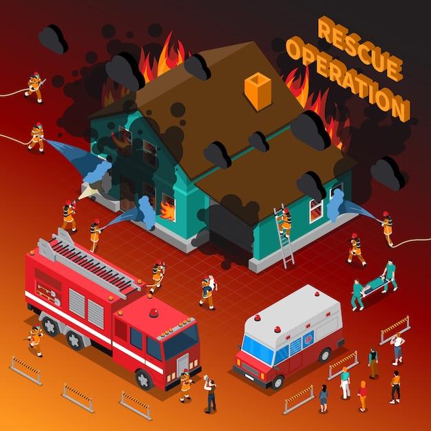 Brandweerman isometrische sjabloon Gratis Vector