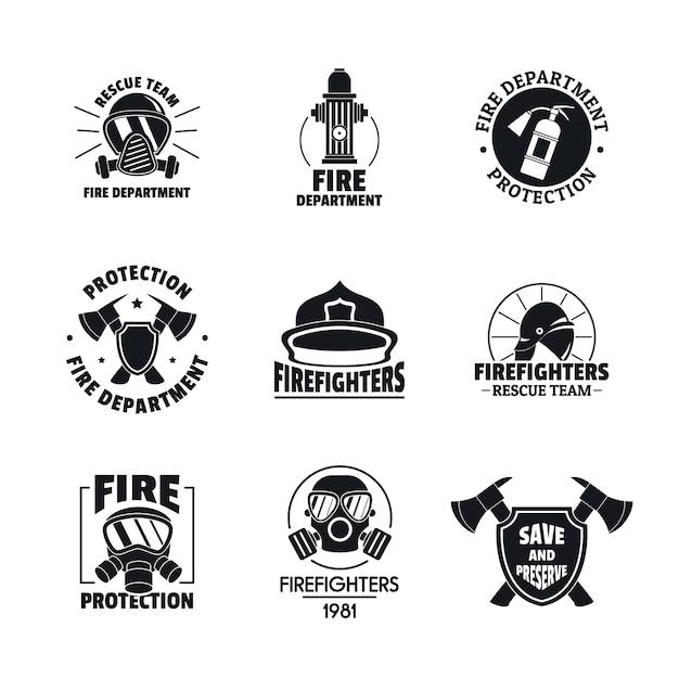 Brandweerman logo pictogrammen instellen Premium Vector