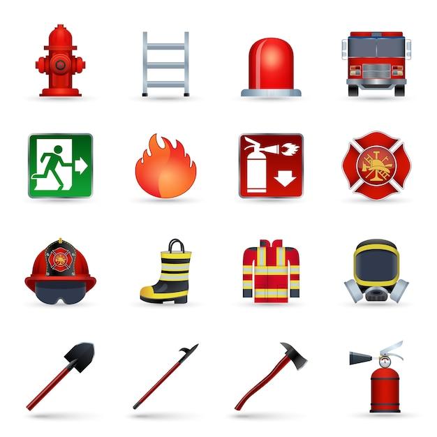Brandweerman pictogrammen instellen Gratis Vector