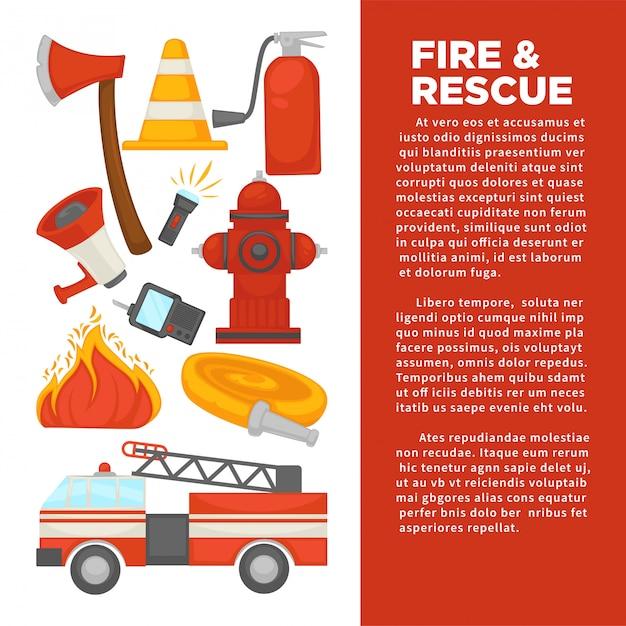 Brandweermanberoep en brandbeveiligde beschermingsaffiche van hulpmiddelen voor brandblusapparatuur. Premium Vector