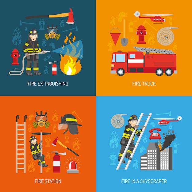 Brandweermanconcept 4 vlak pictogrammenvierkant Gratis Vector