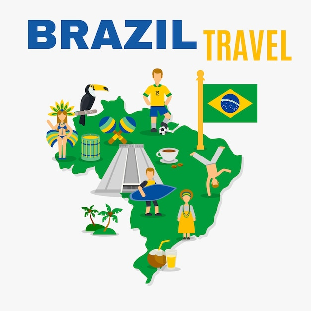 Brazil culture travel agency vlakke poster Gratis Vector
