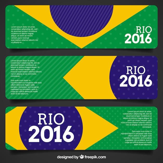 Brazil flag banners van de olympische spelen Gratis Vector