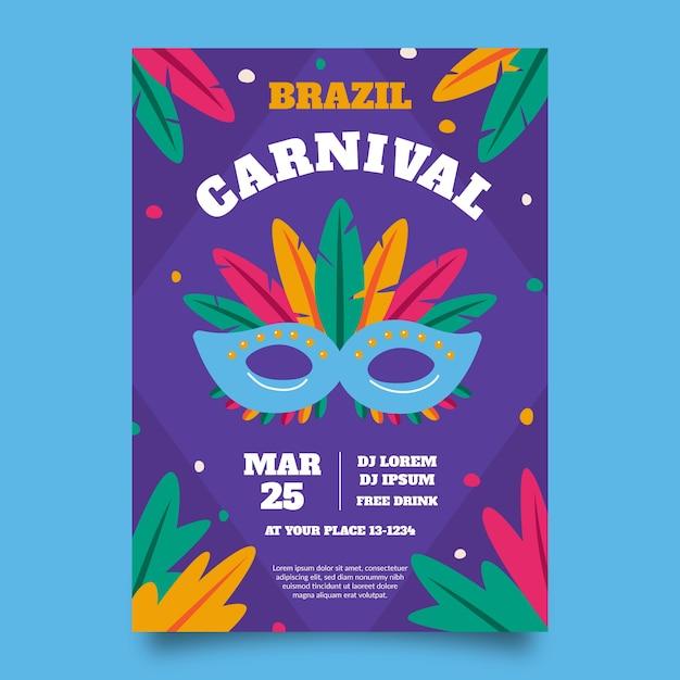 Braziliaans carnaval poster sjabloon Gratis Vector