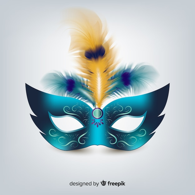 Braziliaans carnaval realistisch masker Gratis Vector