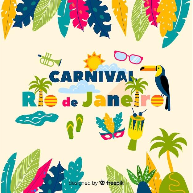 Braziliaanse carnaval achtergrond Gratis Vector