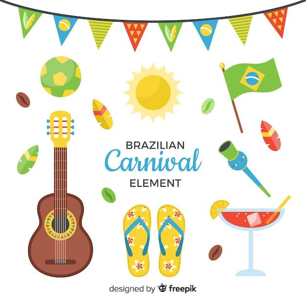 Braziliaanse carnaval element collectie Gratis Vector
