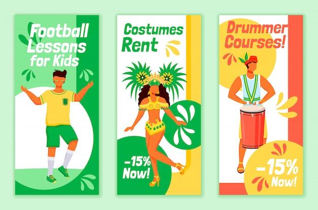 Braziliaanse carnaval flyers platte sjablonen set. voetballessen voor kinderen afdrukbare folder ontwerp lay-out. kostuums huren. drummer cursussen adverteren web verticale banner, social media verhalen Premium Vector
