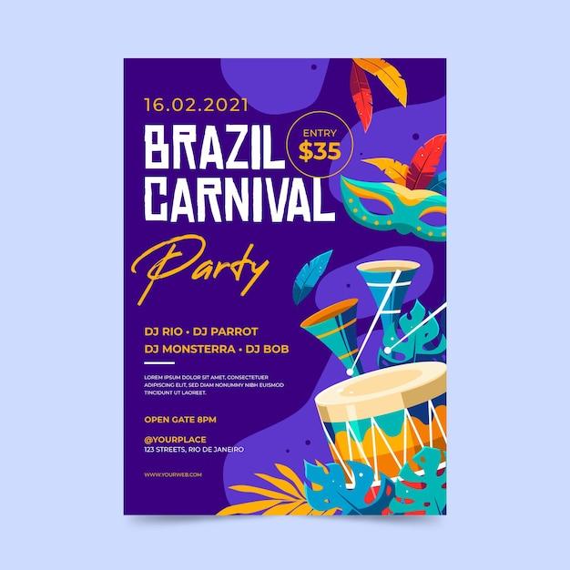 Braziliaanse carnaval folder sjabloon in plat ontwerp Gratis Vector