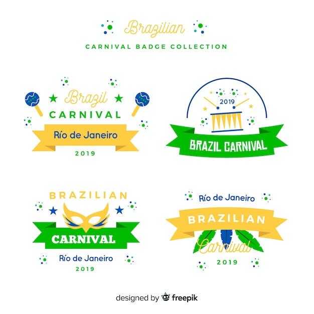 Braziliaanse carnaval-kentekeninzameling Gratis Vector