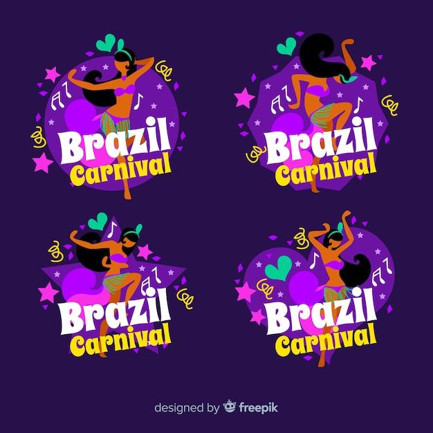 Braziliaanse carnaval logo collectie Gratis Vector