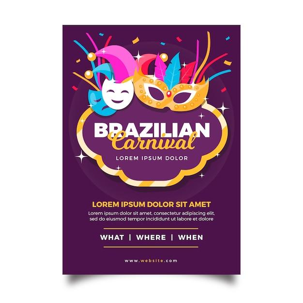 Braziliaanse carnaval poster met droevige en gelukkige maskers Gratis Vector