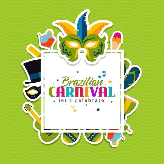 Braziliaanse carnaval wenskaartsjabloon Premium Vector