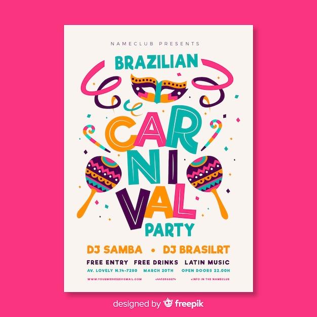 Braziliaanse carnavalsfeestvlieger Gratis Vector