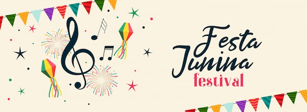 Braziliaanse festa junina muzikale feestbanner Gratis Vector