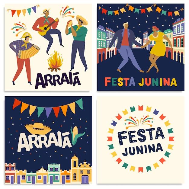 Braziliaanse traditionele viering festa junina-kaarten Premium Vector