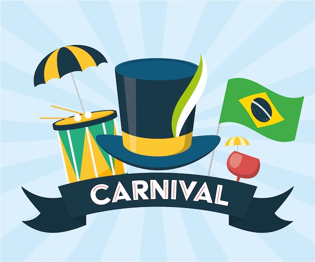 Brazilië carnaval festival achtergrond Gratis Vector