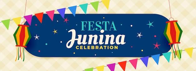 Brazilië festa junina viering banner Gratis Vector