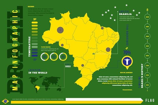 Brazilië kaart infographic in plat ontwerp Premium Vector