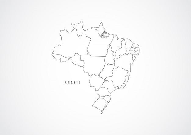 Brazilië kaart overzicht op witte achtergrond. Premium Vector